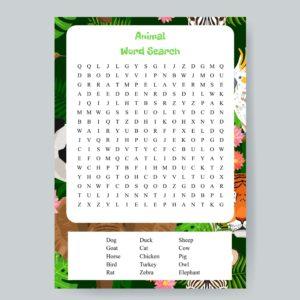 Animal Word Search Printable