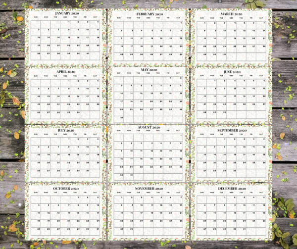Floral 2020 Calendar 2