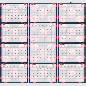 Blue and Peach Flower Printable Calendar 2020