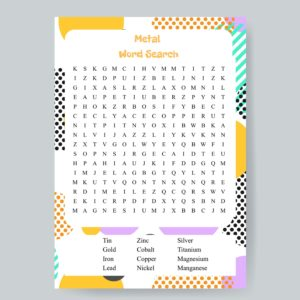 Metal Word Search Printable