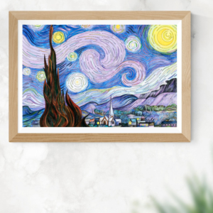 The Starry Night (1889) by Vincent van Gogh Printable Wall Art Painting