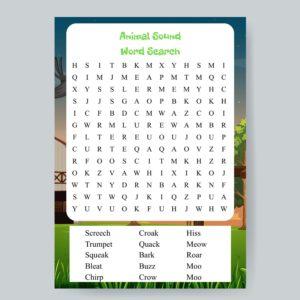 Animal Sound Word Search Printable