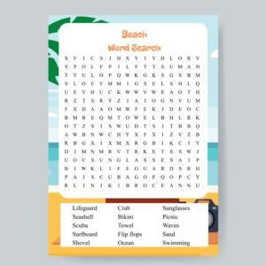 Beach Word Search Printable