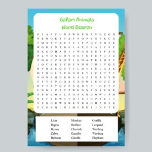 Safari Animals Word Search Printable