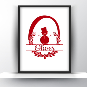 Custom Monogram Christmas Wall Art – Printable