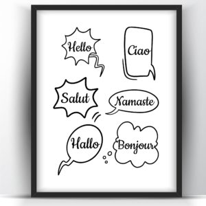 Hello in different languages printable