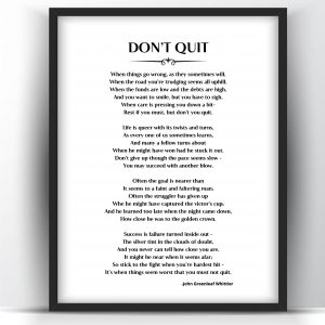 Don't Quit Poem by John Greenleaf Whittier Printable and Poster
