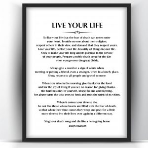 Live Your Life Poem by Chief Tecumseh Printable and Poster