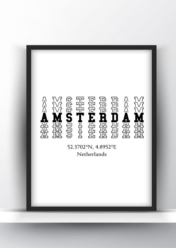 Amsterdam Typography City Map Print