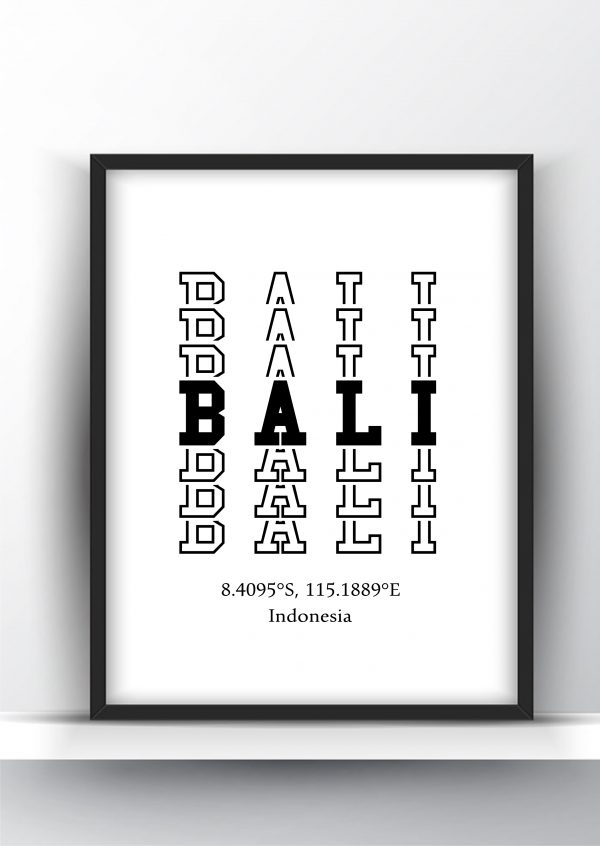Bali Typography City Map Print