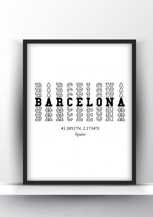 Barcelona Typography City Map Print