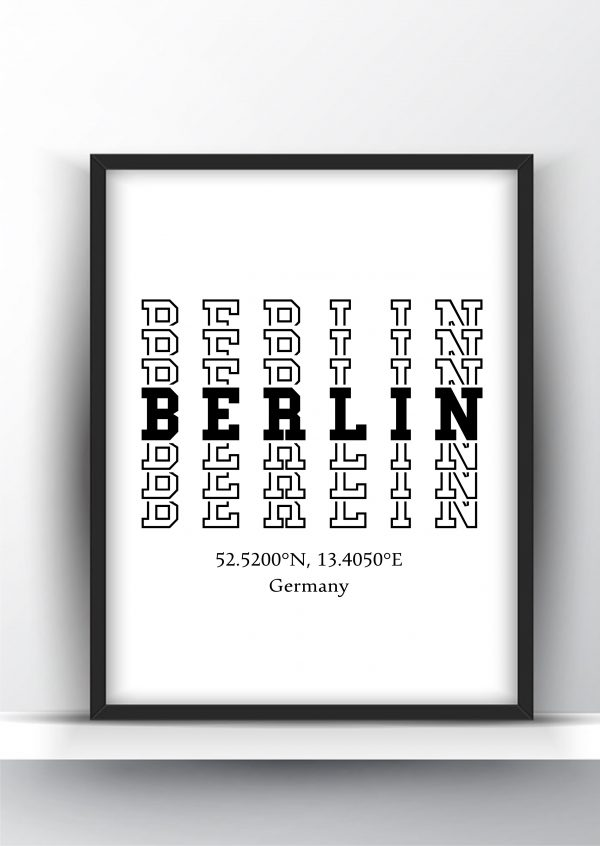 Berlin Typography City Map Print