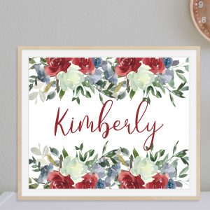 Personalized Floral Girl Name Printable Wall Art and Poster