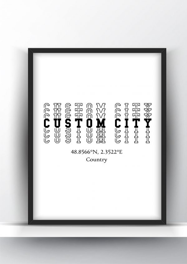 Custom Typography City Map Print