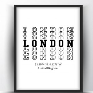 London Typography City Map Print