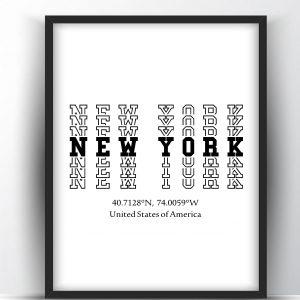 New York Typography Printable Wall Art and Poster