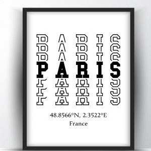 Paris Typography City Map Print