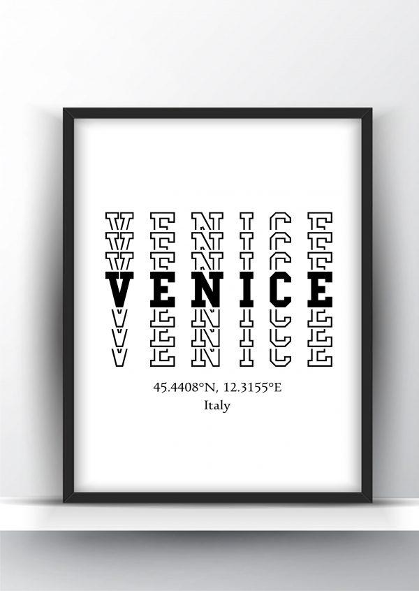 Venice Typography City Map Print