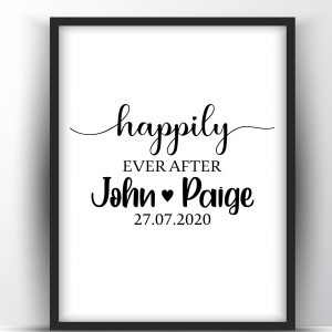 Happily Ever After Custom Gift for Newlyweds Printable Wall Art