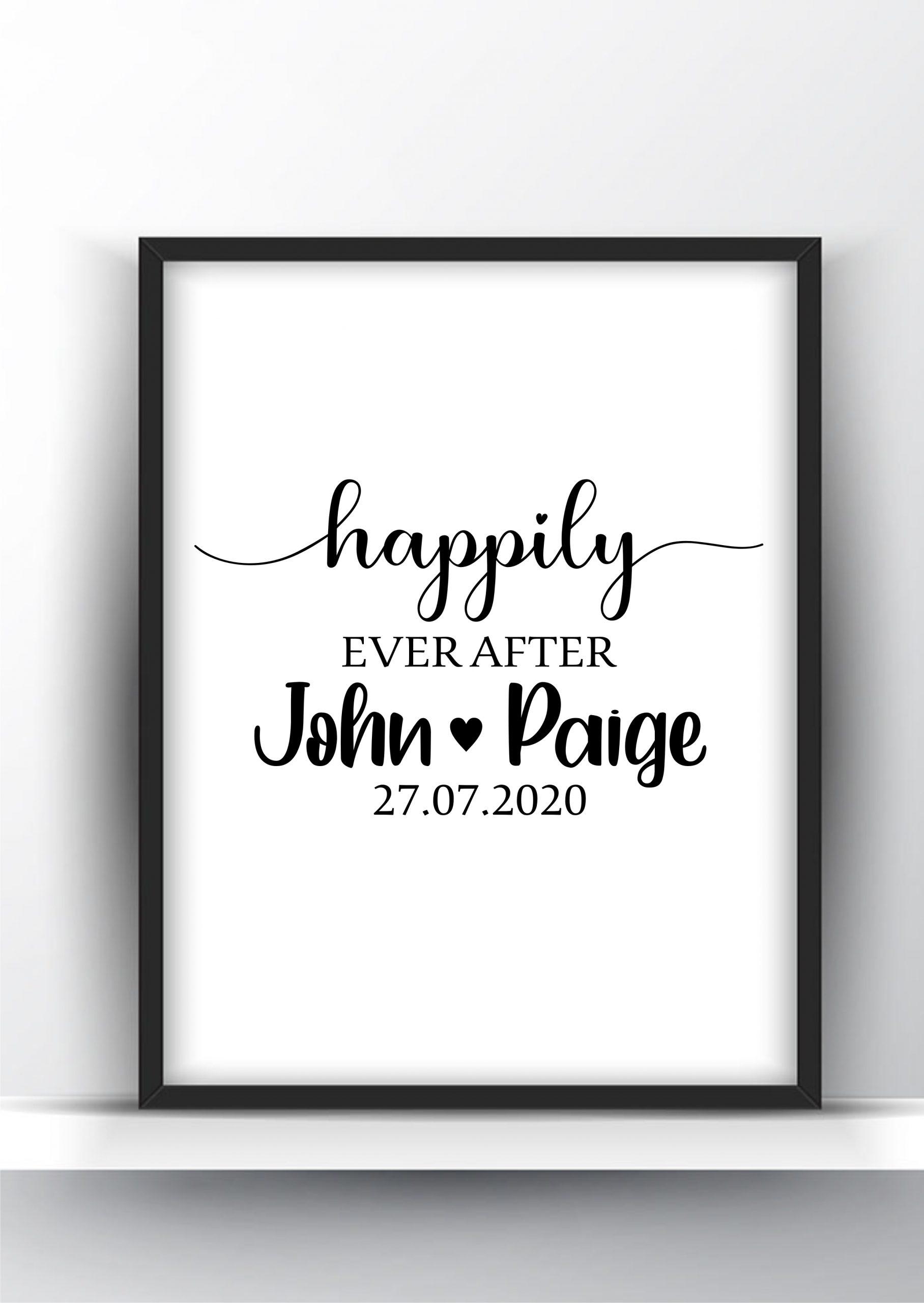 Happily Ever After Custom Gift For Newlyweds Printable Wall Art Shark Printables