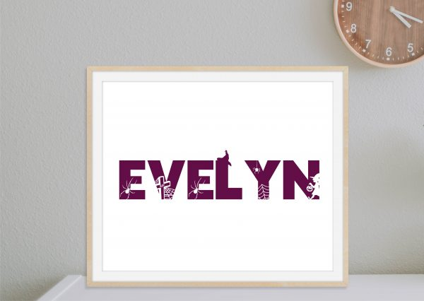 Personalized Halloween Name Printable Wall Art 1a