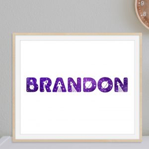 Personalized Space Themed Name Art Printable Wall Art