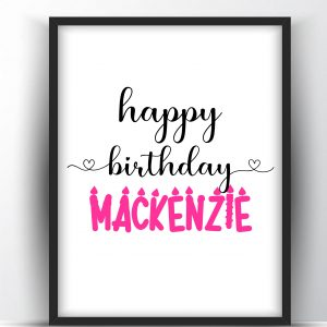 Personalized Happy Birthday Name Art Printable Wall Art