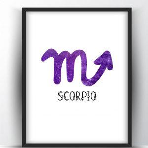 Scorpio Zodiac Sign Printable Wall Art