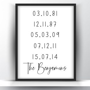 Personalized Family Birth Date Printable