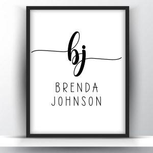 Personalized Name Monogram Initials Printable
