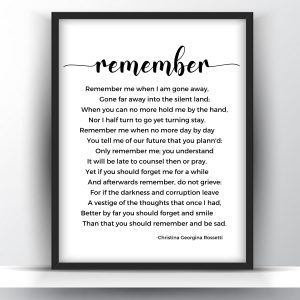Remember Poem By Christina Georgina Rossetti Printable Wall Art