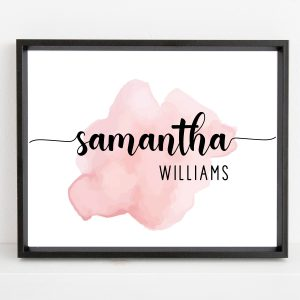 Personalized Name Pink Watercolor Printable Nursery Wall Art for Baby Girls