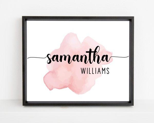 Personalized baby girl name nursery printable wall art