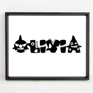 Personalized Baby Shark Kids Name Printable Wall Art