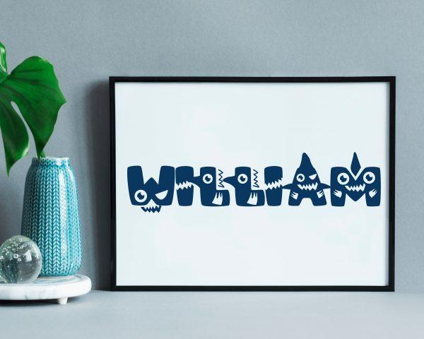 Personalized baby shark kids name printable wall art b