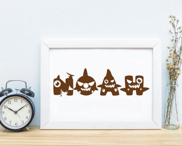 Personalized baby shark kids name printable wall art c