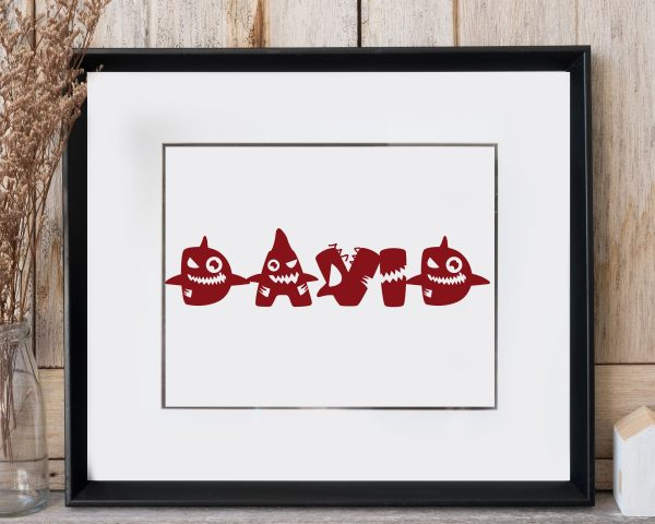 Personalized baby shark kids name printable wall art d