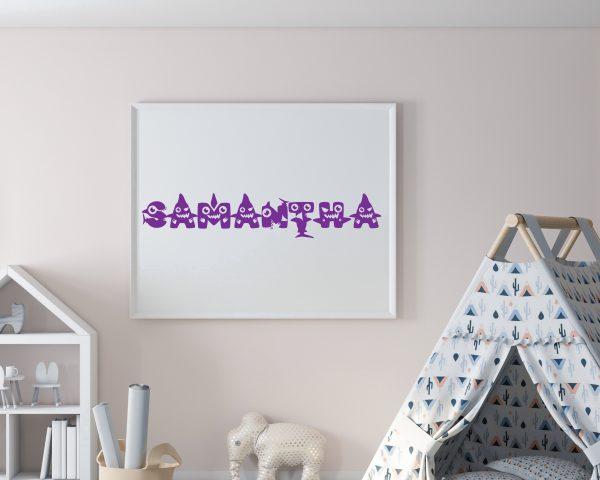 Personalized baby shark kids name printable wall art f