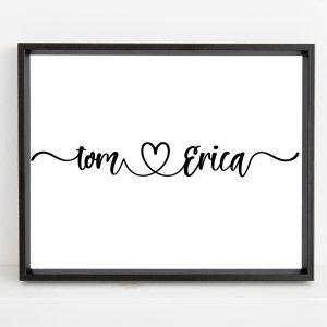 Custom Couple Names Printable Wall Art