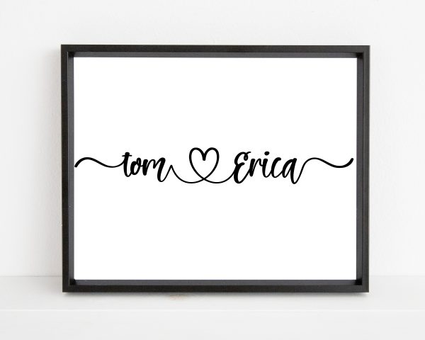Personalized couple name printable wall art