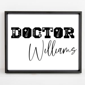 Personalized Doctor Name Printable Wall Art – Custom Gift for Doctors