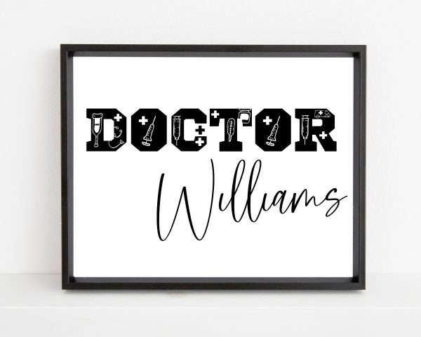 Personalized doctor name printable wall art