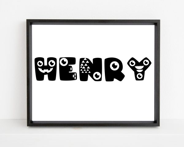 Personalized monster kids name printable wall art a
