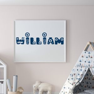 Personalized Monster Kids Name Printable Wall Art