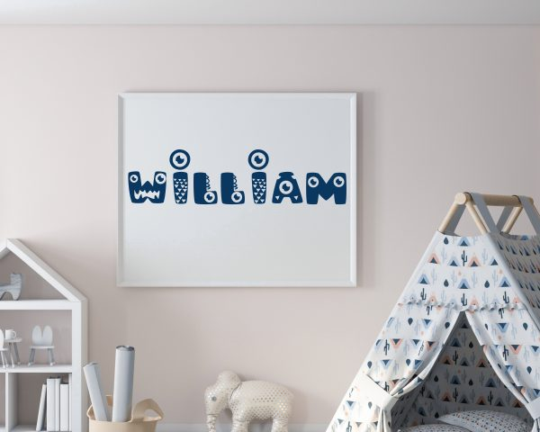 Personalized monster kids name printable wall art b