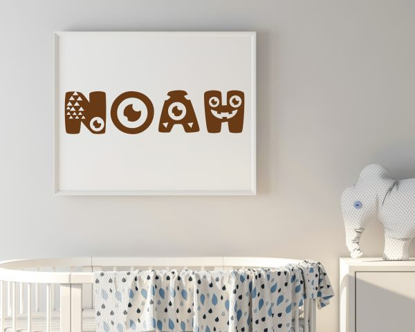 Personalized monster kids name printable wall art c