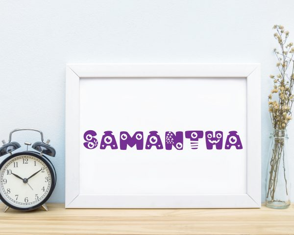 Personalized monster kids name printable wall art f