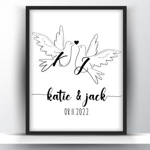 Personalized Pair of Doves Monogram Couple Printable Wall Art Gift