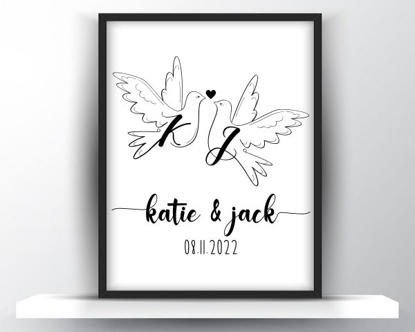 Personalized pair of doves monogram couple printable wall art