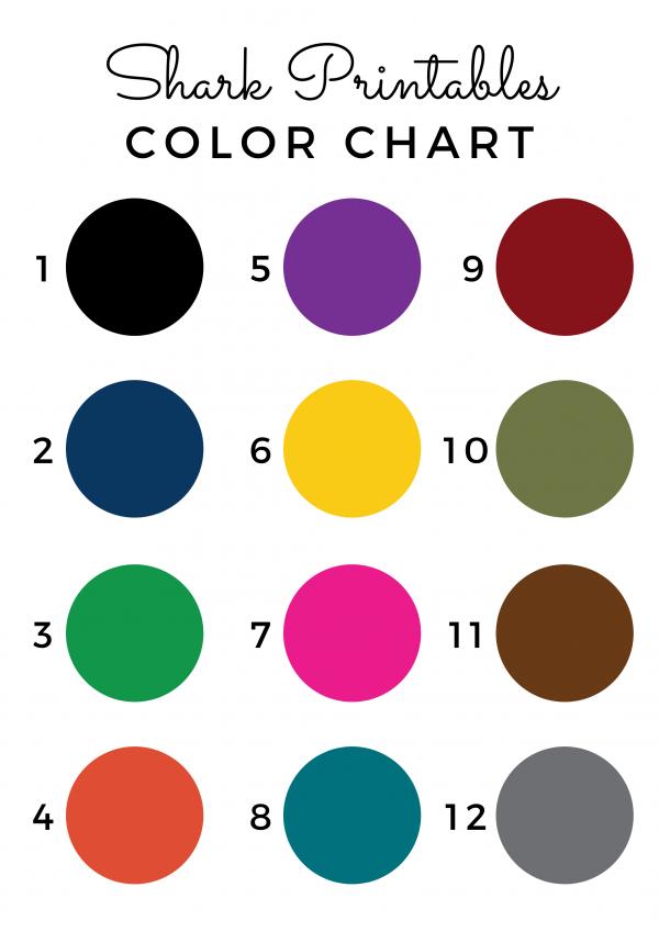 Shark Printable Color Chart